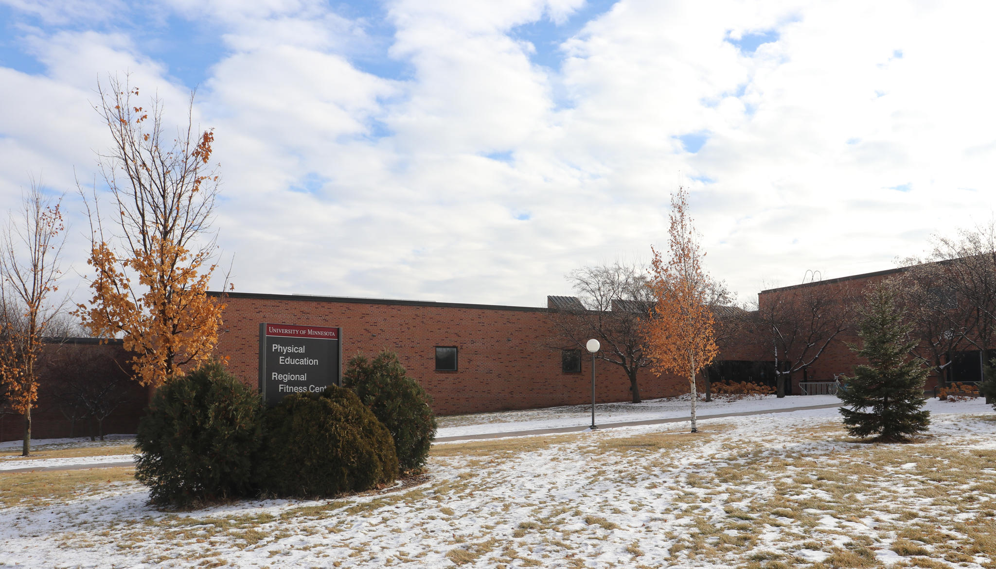 Cougar Sports Center exterior, snow on the ground