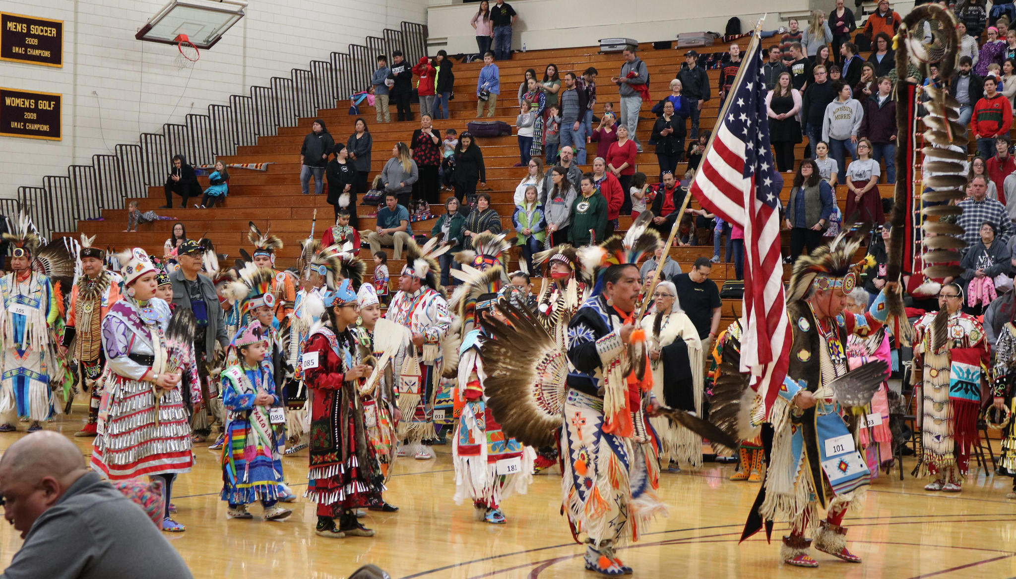 Dancer entering the arena during Powwow Grand Entry
