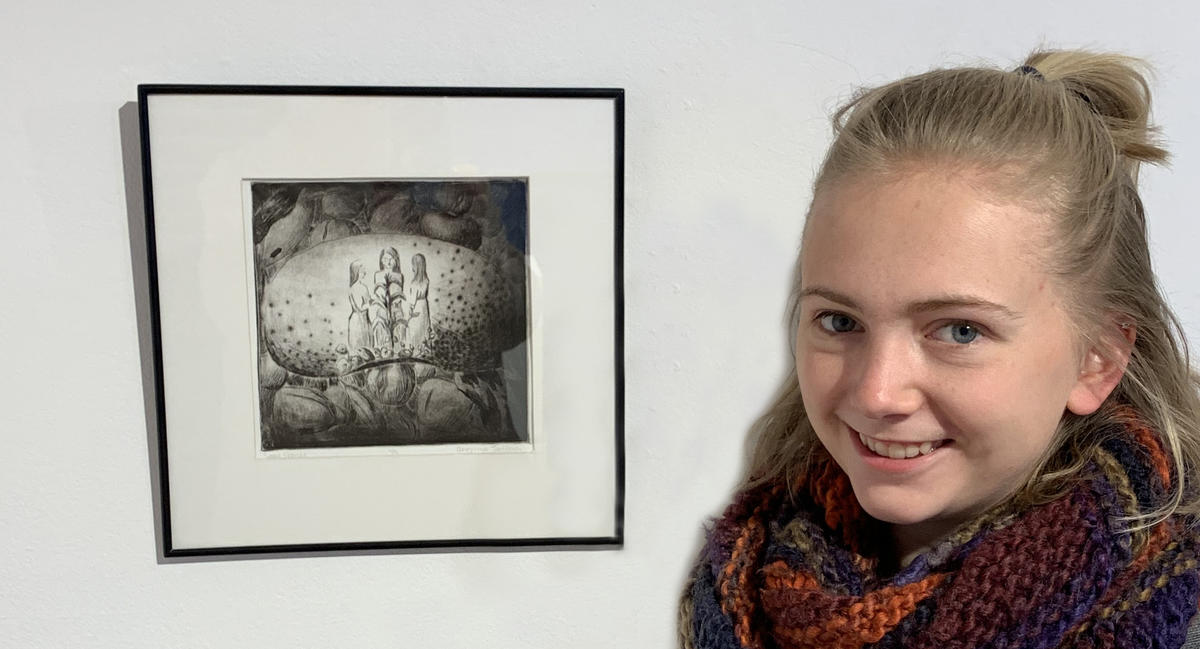 """Anneliese Tatham with her """"Seed Stories"""" artwork"""