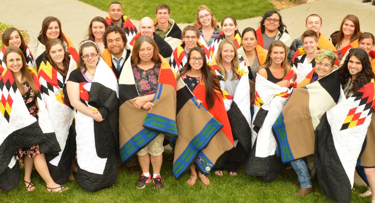 Morris students wearing honor quilts