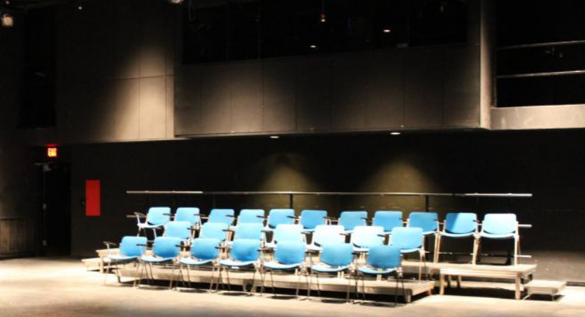 Seating and light booth in the George C. Fosgate Black Box Theatre