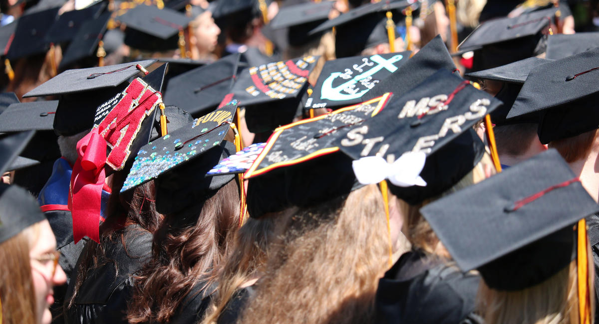Graduates lined up for Commencement ceremony