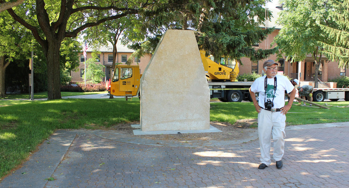 Duane Goodwin at the installation of the rock