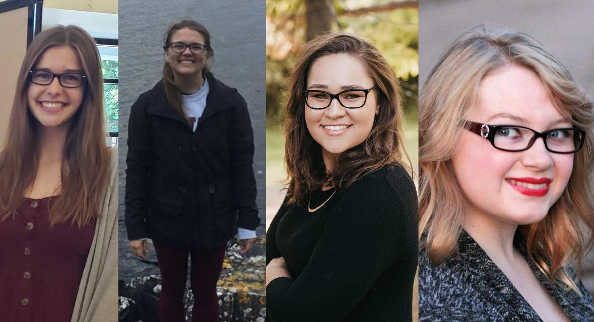 Four portraits of young women, juxtaposed. All are facing the camera and smiling.