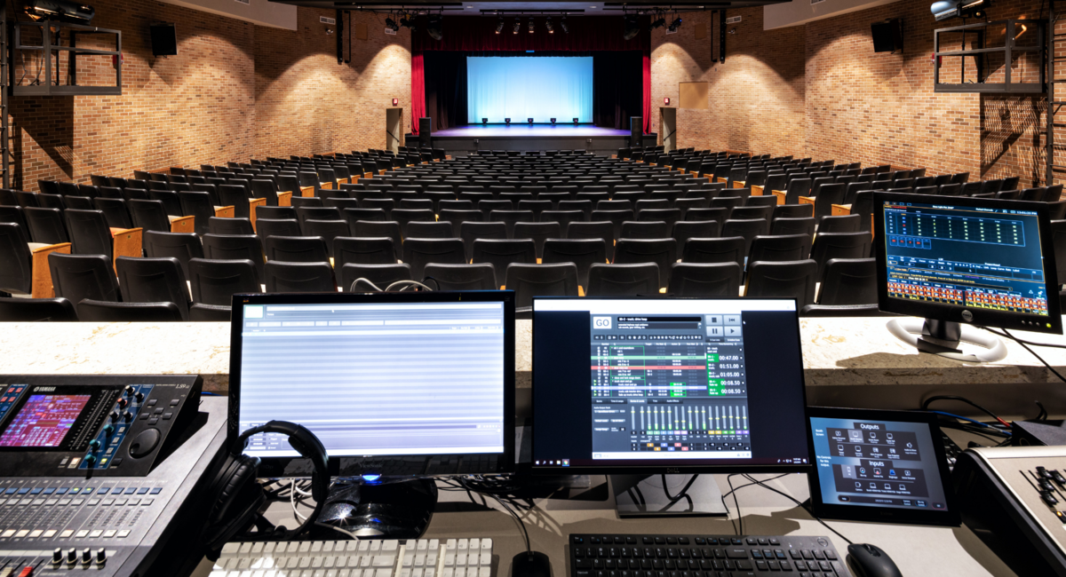 The stage in Edson Auditorium, seen from behind the control booth