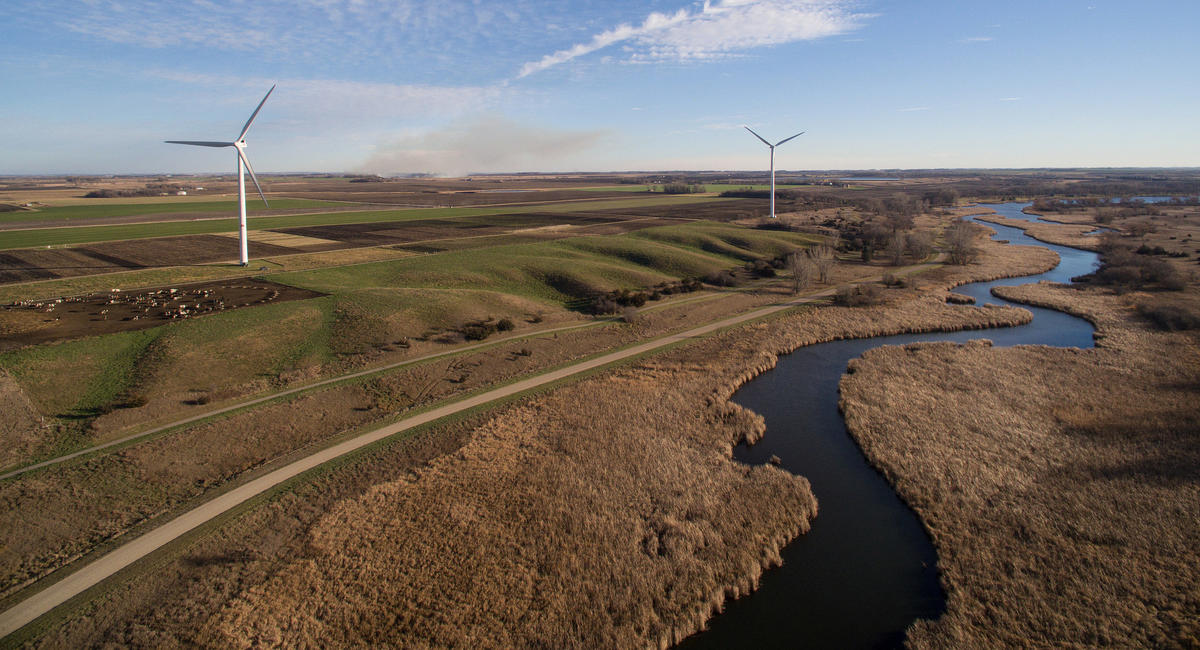 Aerial view of UMN wind turbines, Morris, Minnesota