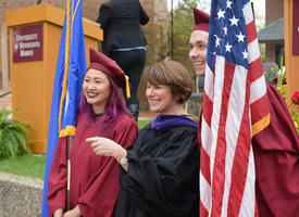 United States Senator Amy Klobuchar smiling with UMN Morris students