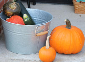 Fall produce in a metal bucket