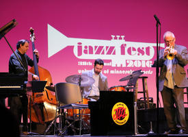 A jazz ensemble playing onstage