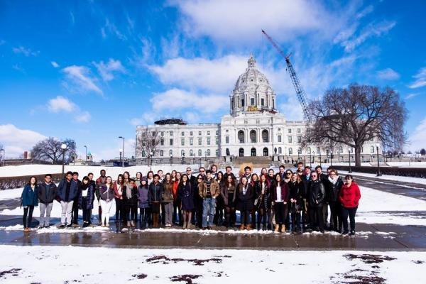 Morris students and staff outside the Minnesota State Capitol