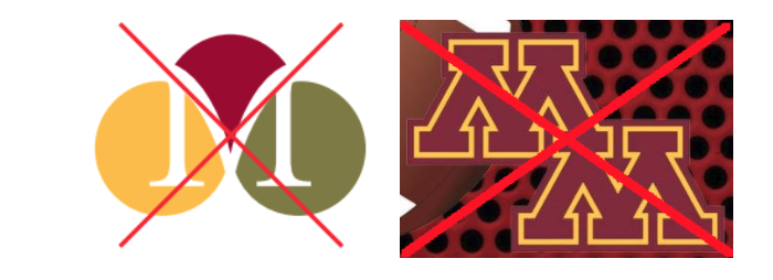 Outdated UMN Morris logos, with big red Xs through them