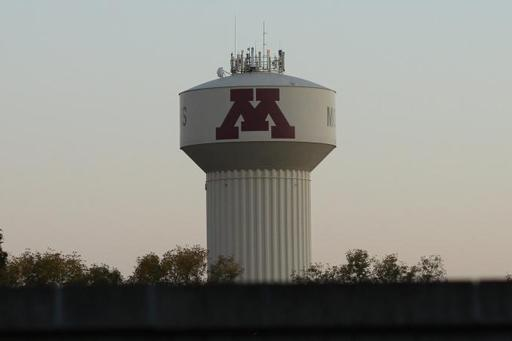 A water tower with the UMN Block M on it